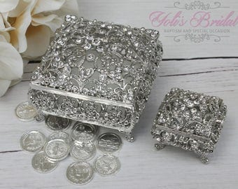 FAST SHIPPING!! Beautiful Swarovski Crystal Wedding Rings and Arras Box Set, Jewelry Box, Rosary Box