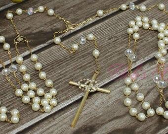 FAST SHIPPING!! Beautiful Gold  Wedding Lasso with Pearls,  Pearl Wedding Lazo, Lazo para Boda de Perlas, Christian Wedding Lasso