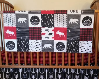 Fitted Crib Sheet,Skirt, and Minky Blanket-Red Black Buffalo Plaid, Arrows, Moose Bear -3 Piece Set Custom Baby Boy Bedding - toddler sheet