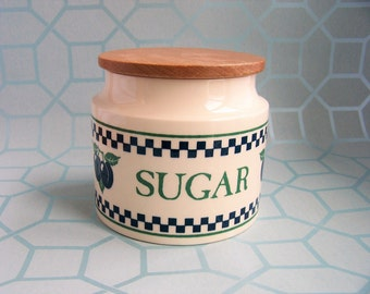 Vintage Hornsea Sugar Canister, Hornsea Chequers, Ceramic Storage Jar, 1989, Made in England, Plums, Checks