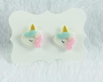 Mini Baby Unicorn Earring Studs/Hypoallergenic/Silver Plated/Sleeping Clay Unicorn/Tiny Magical Creature/Birthday Gift/Easter/Spring