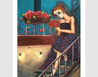 The Black Bride  11x14 Signed Day of the Dead [Dia De Los Muertos]  Print by NM artist Sean Wells