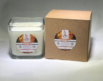Exotic Earth Soy Candle Handmade 10oz, NEW SCENT, Vegan, Koscher Certified Soy
