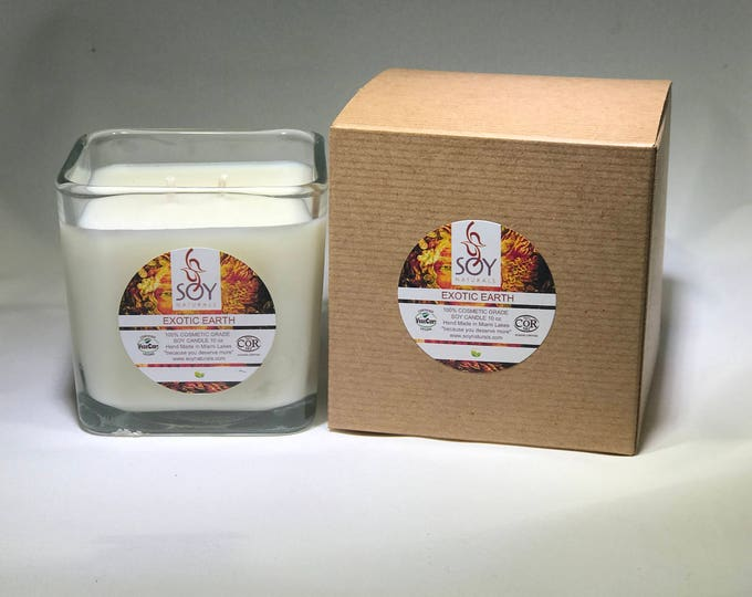 Featured listing image: Exotic Earth Soy Candle Handmade 10oz, NEW SCENT, Vegan, Koscher Certified Soy