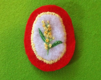 Embroidered wattle flower patch