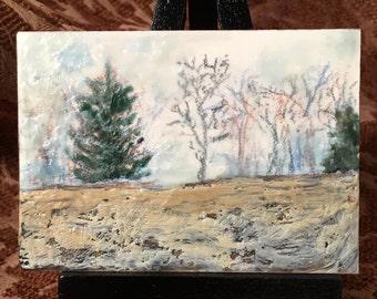 Miniature Wax Encaustic Painting Landscape