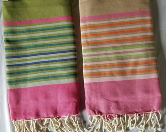 Hand Woven 100% Natural Cotton Stripped Tunisian Fouta ,Scarf,Shawl,Tablecloth