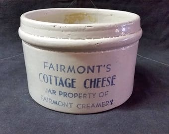 Rare Antique Vintage Fairmont's Cottage Cheese Stoneware Crock Jar