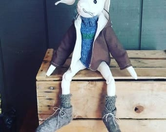 Mr. Nigel Longfoot. Artdoll. Handmade bunny rabbit. Handmade rabbit. Made with recycled materials. Eco friendly toy.