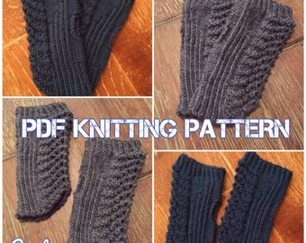 Cortez Handwarmers, Fingerless Mittens, Gloves, PDF Knitting Pattern, Instant Download