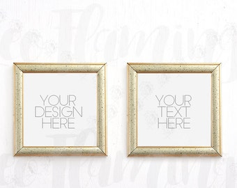 Set of Two 2 Square Mockups Gold Golden Digital Small Miniature Empty Template Picture Photo Romantic Shabby Chic Display Picture Frames 1:1