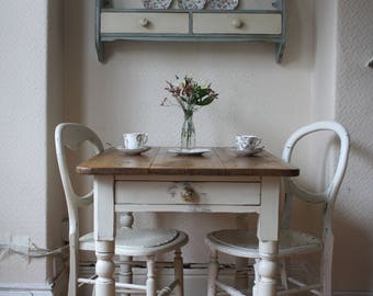 Small Painted Vintage Farmhouse Pine Table with Cutlery Drawer