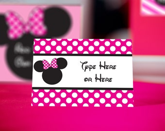 Pink Minnie Mouse Food Labels INSTANT DOWNLOAD - Bright Pink Minnie Mouse Party Labels by Printable Studio