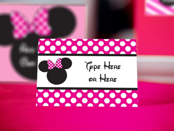 Pink Minnie Mouse Food Labels Instant Download Bright Pink