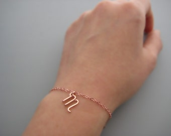 Rose Gold Initial Bracelet - lowercase cursive letter charm with delicate chain, personalized new mom jewelry