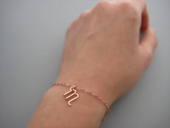 Rose Gold erste Armband Kleinbuchstaben kursiv schreiben