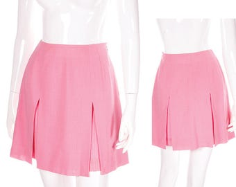 Vintage Karl Lagerfeld Pleated Split Bubblegum Pink 90s Skirt