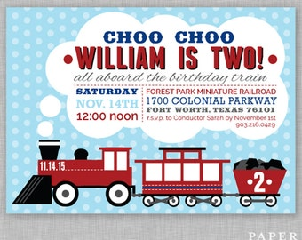 Choo Choo I'm Two Birthday Party Invitation - Train Birthday Party Invitation - Second Birthday Invitation