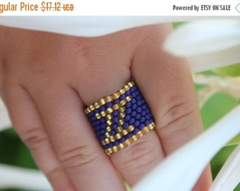 VALENTINE SALE 25% Gemini Personalized Zodiac Ring Horoscope Ring Seed bead astrological Ring Astrology ring Gemini jewelry Blue Unique Ring