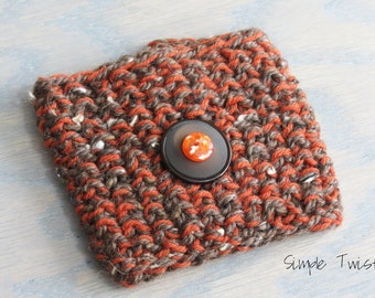 Orange Knit Coffee Cozy - Brown Coffee Cozy - Coffee Cozy with Buttons