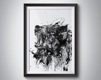Black Bear, Bear Art, Animal Art Print, Angry Animal Art, Black and White Animal, Wildlife Art, Black And White Art, Bear Ink Drawing, Roar