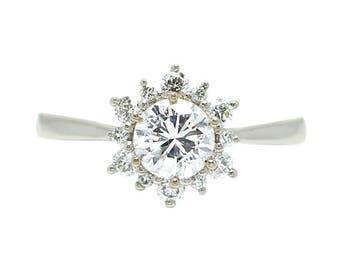 14k White Gold Floral Vintage Inspired Diamond Engagement Ring