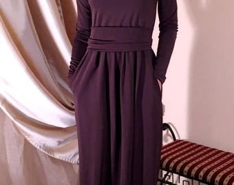 Brown Chocolate Maxi Dress  Round Neckline Long Sleeves Pockets