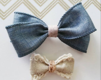 Denim canvas hair bow with wool felt strap/ Burlap lace hair bow with leather cord