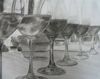 Charcoal wine glass drawing