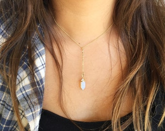 Opalite Lariat Necklace, opal necklace, opalite jewelry, mermaid necklace