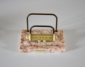 Vintage perpetual calendar / french flip calendar / Letter holder and pencil holder / pink marble