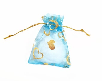 Organza Bags - 25 Small Organza Bags - 2.75 x 3.5 Foil Heart Bags - Blue Drawstring Bags - Sheer Bags for Jewelry - Party Favor Bags - BG202