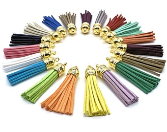 Long Tassels - 58 mm Decorative Tassels - 10 or 24 Gold Cap, Color Mix - Tassels for Jewelry - Key Chain Tassels - Tassel Pendants - TL-G001