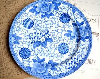 Antique French Ceramic Plate Blue Transferware Creil Montereau Pivoine Peony 1800s B&Cie C M