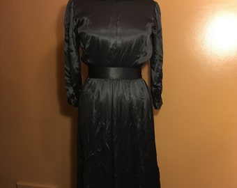 Vintage Mourning Dress Black Silk Full Length Colonial Prairie Pioneer Goth Witch