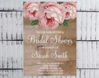 Bridal Shower Invitation, Rustic Bridal Shower, Shabby Chic Invitation, Wedding Shower Invitation, Vintage Bridal Shower Invitation