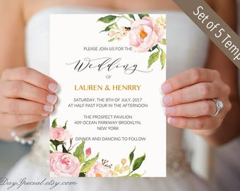 5 Peony Wedding Invitation Templates, Printable Wedding Invitation Suite, Floral Wedding Invites set templates, PDF Instant Download #104