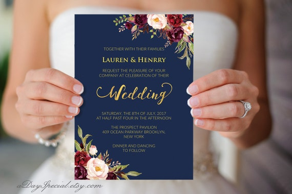Printable navy wedding invitation burgundy boho floral gold for Costco wedding invitations uk