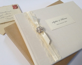Luxury Guest Book, Wedding Guest Book, Ivory Lace Guestbook, Crystal And Lace Guestbook, Linen Guest Book