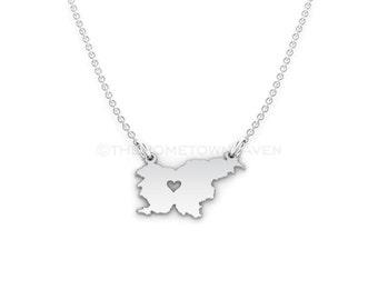 Slovenia Necklace - Slovenia charm necklace, Slovenia map necklace, I Heart Slovenia necklace