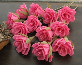 24 pcs Pink paper flowers, Pink roses bridal flower, Wedding decor pink flower, Paper flower roses wedding centerpiece, Gift anniversary