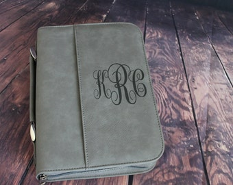 Select Size-Bible Case Cover Gray Laser Engraved Monogram Bible Case Cover with Zipper Closure-Monogram Bible Case-Bible Cover