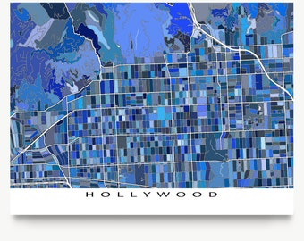 Hollywood Map, Los Angeles USA City Map, LA, Hollywood Print