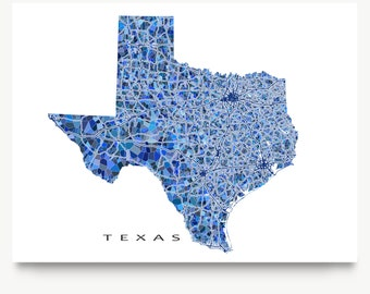 Texas Map Print, Texas State Art, TX Wall Decor