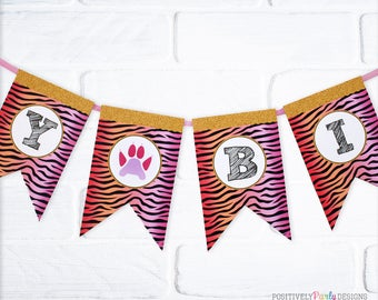 Tiger Stripes Birthday Flag Banner - Girl Birthday Name Banner - bunting, pink orange red tiger stripes, tiger paw, JPG