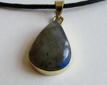 Labradorite Gemstone Teardrop Pendant and Brass option with chain or wax cord  Pendant LB2 Adjustable Free UK Shipping + Gift Bag BP17