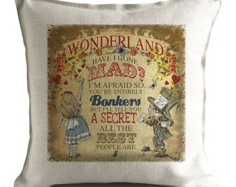 ALICE IN WONDERLAND Cushion Pillow Cover Mad Hatter and Alice - Have I Gone Mad - 40cm 16 inch