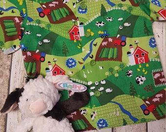 Handmade Boys Aged 4 years Shirt in Farmyard Fabric
