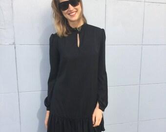 30% off! Peplum dress, Black satin viscose