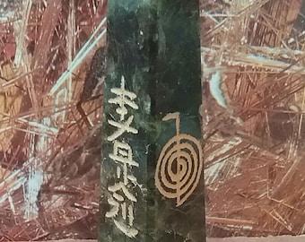 """3.5"""" Solid LABRADORITE CRYSTAL TOWER, Usui Reiki Sanskrit Engraved 4 Sided Energy Wand, Obelisk"""